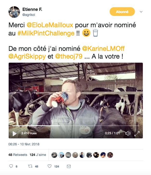 MilkPintChallenge Agrikol agriculteurs lait vaches étables boire - Crédit DR
